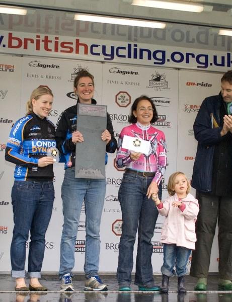 Women's time trial podium: Lauren Whitmore (3rd), Rebecca Slack (1st), Nadine Mayhew (and daughter) (2nd)
