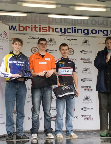 Junior time trial podium: Cameron Foster (3rd), Jake Martin (1st), Rob Yeatman (2nd)