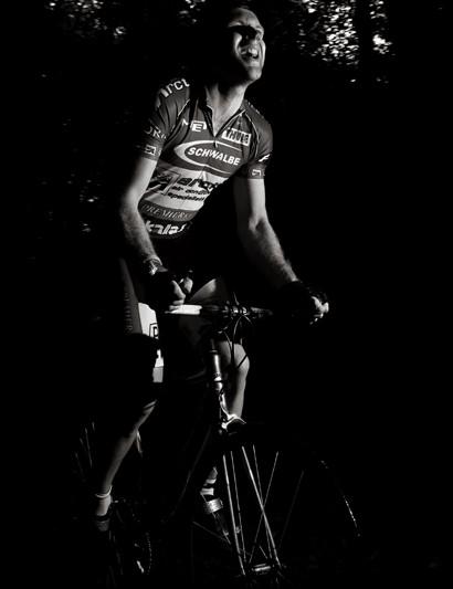 Winner Rob Gough on his custom hill climbing bike