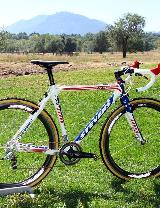 Stevens Bikes have provided US national champion Katie Compton (Planet Bike-Stevens Bikes) with this special red, white, and blue carbon racer
