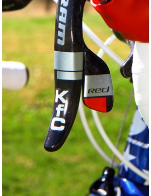 Katie Compton's (Planet Bike-Stevens Bikes) nickname is even applied to the ends of the SRAM Red DoubleTap levers