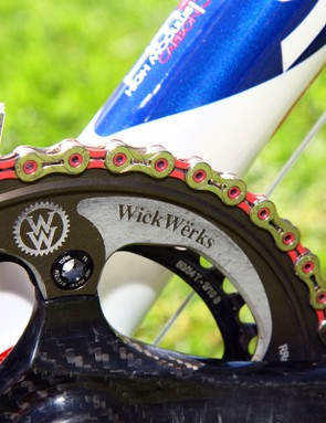 WickWerks make a special outer ring for Katie Compton (Planet Bike-Stevens Bikes) to yield proper 'cross gearing on the four-arm Zipp VumaQuad crankset