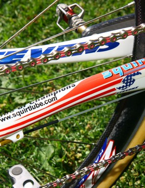 Mechanic/manager/trainer Mark Legg-Compton says he likes the wax-based Squirt chain lube for its ease of cleaning in between messy laps