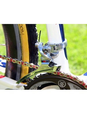 Like many pros, Katie Compton (Planet Bike-Stevens Bikes) prefers the stiffer steel cage option for the SRAM Red front derailleur