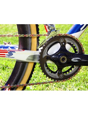 A metal plate protects the chainstay from chain suck