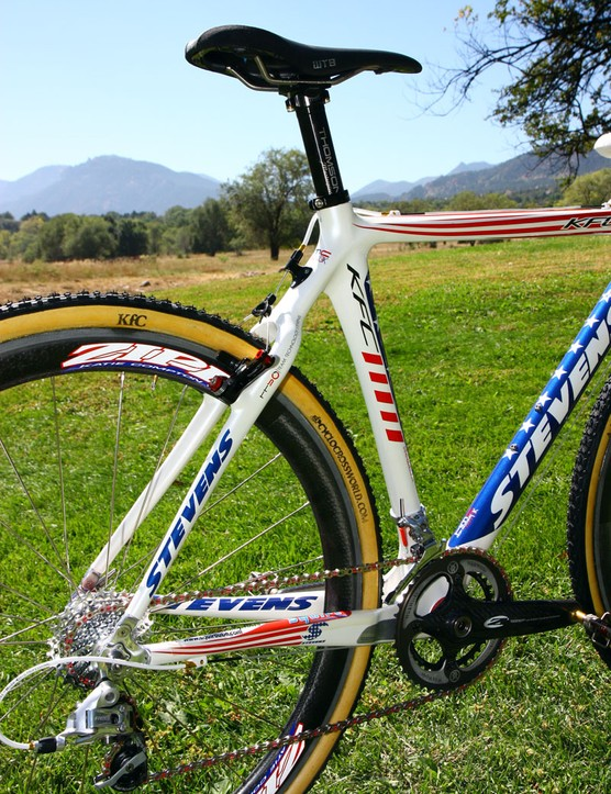 Despite appearances, the rear end of the Stevens Cyclocross Carbon Team frame is reportedly remarkably comfortable