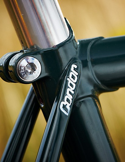 The triple-butted steel frame is handbuilt in Italy using traditional skills, with the Condor name  stamped in at the top of the seatstays, the head- tube and the bottom bracket