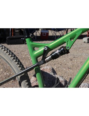 The Spearfish combines its rearward shock mount and seatstay pivot to save weight