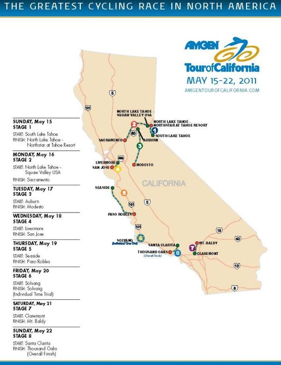 The 2011 Amgen Tour of California stage starts and finishes
