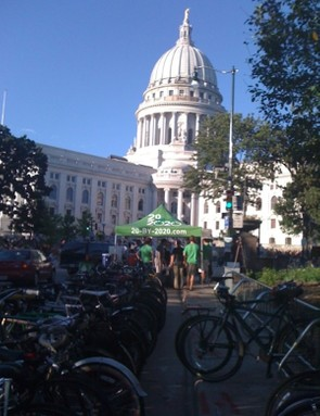 A 20BY2020 bike valet at the Wisconsin capitol