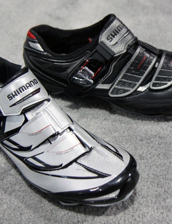 Shimano's new SH-M315 mountain bike shoe flagship (left) boasts lighterweight materials and a far more supple feel than before while the new SH-M240 sticks to more traditional heat-mouldable materials for more durability