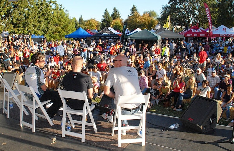 Leipheimer and Dempsey, along with MC Dave Towle address the crowd after the ride