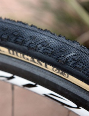 Cannondale-CyclocrossWorld.com team manager Stu Thorne had custom tyres made for CrossVegas using Schwalbe Sammy Slick treads glued on to 32mm-wide Dugast casings