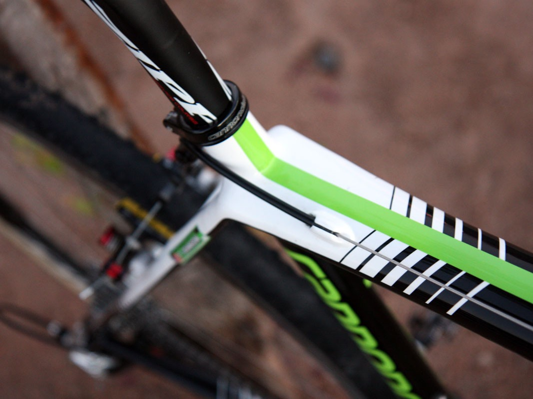 Cannondale say the wider top tube base helps boost front triangle rigidity on the new SuperX