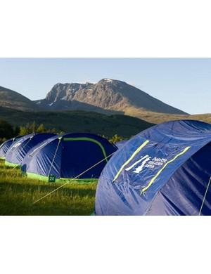 Tents are pre-pitched ready for weary legs
