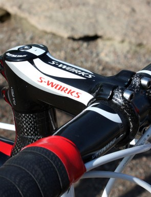 The Specialized S-Works Pro-Set stem is easily adjustable for angle to help fine-tune the fit