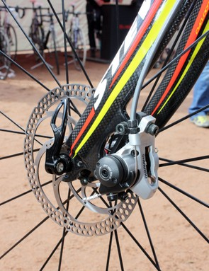 Hanka Kupfernagel's (Team Itera-Stevens) prototype Stevens 'cross bike sports Shimano mechanical disc brake calipers front and rear