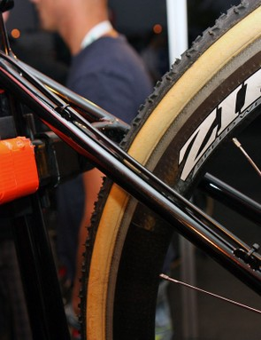 The revised seatstays on Todd Wells' custom Specialized CruX omit the cantilever bosses and instead sport guides for full-length housing