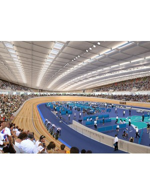 Render showing track action inside the Velodrome