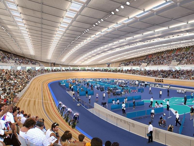 Render showing track action inside the Velodrome