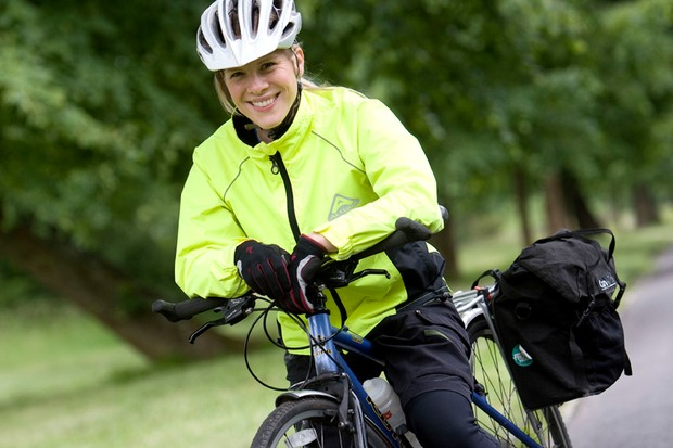 Ruth's all smiles – but she's got 150 miles of cycling ahead of her