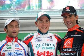 Tour of Lombardy podium: Michele Scarponi (2nd), Philippe Gilbert (1st), Pablo Lastras (3rd)