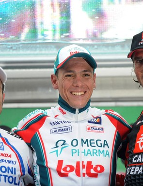 Tour of Lombardy podium: Michele Scarponi (2nd), Philippe Gilbert (1st), Pablo Lastras (3rd)