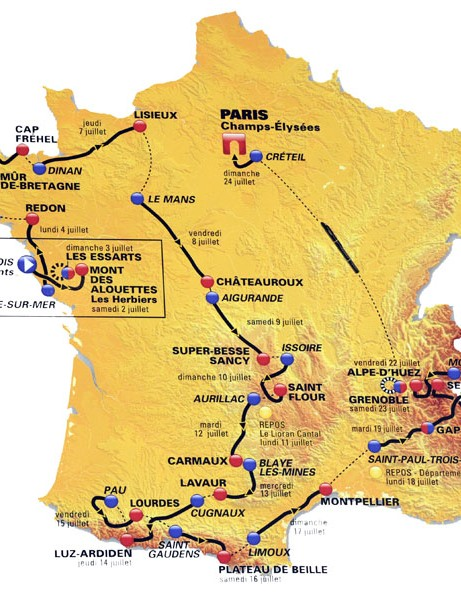 The map of the 2011 Tour de France