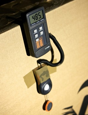 Light output is calculated using a lux calibrated industrial light meter placed 5m from the lamp in a blacked out workshop
