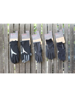 Five of Bontrager's six winter gloves from the brand's 2011 line