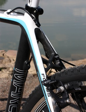 The rear brake housing stop is neatly integrated into the seatpost collar