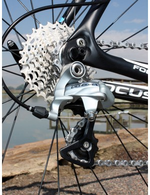 Shimano is still king when it comes to rear shift smoothness.  The stock 11-28T cassette provides an impressively wide gearing range