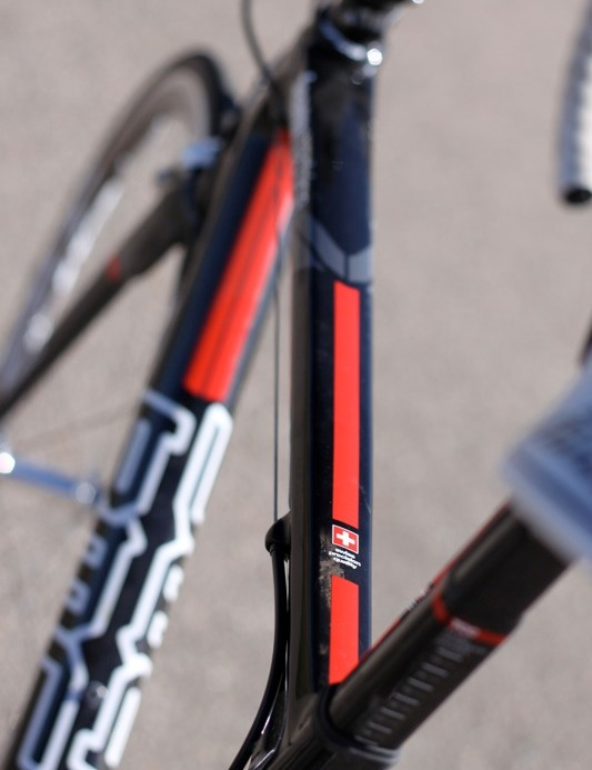 The top tube tapers into the seat tube, but provides the rider a solid connection to the bike