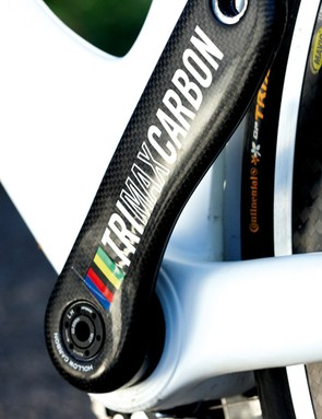Massive Vision carbon cranks, vast bottom bracket area and huge chainstays create clock-crushing power delivery