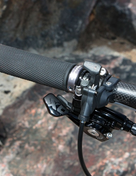 The only way we could fit all of the controls on our test bike's handlebar was to slam everything outward, leaving little room on the grips for our hands