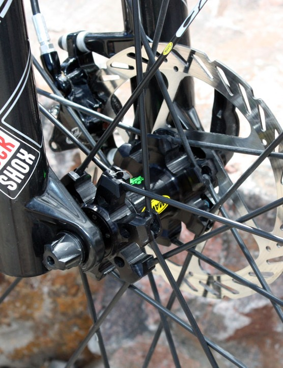 A quick-release front hub comes standard on the Orbea Alma 29 but we would have preferred the sharper steering of a thru-axle