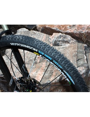 The stock Hutchinson Python tires roll fast and grip well on hardpack but the exposed sidewalls make them prone to flats from rocks