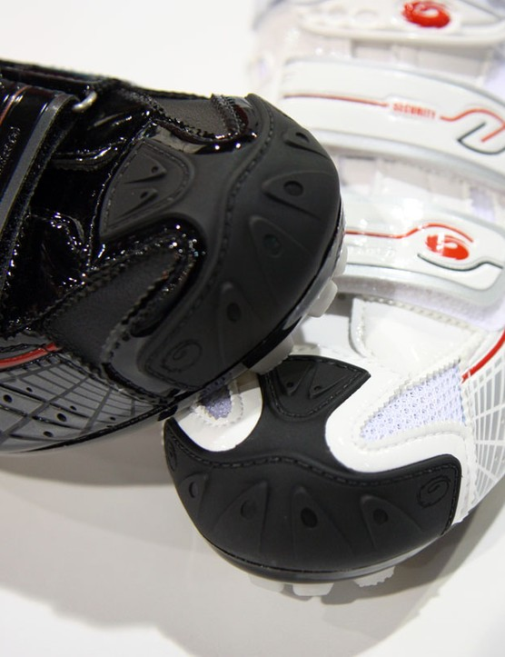 Integrated plastic toe caps on the Sidi Spider protect against wear and impact