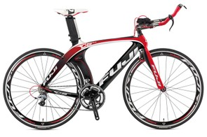 D-6 3.0 time trial/triathlon bike will cost around £2129.99. For this you get a fully aero high modulus C-7 carbon frameset with internal cable routing, Fuji CGC 43mm alloy clincher wheels, and a Shimano 105/Ultegra drivetrain