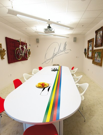 The championship winning stripes in the boardroom are a reminder of the company's success in building winning bikes