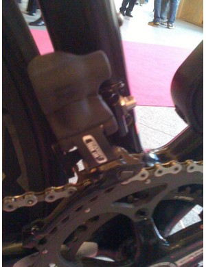 The battery, levers and gears are labeled Campy Tech Lab, the name given to Campagnolo development division.