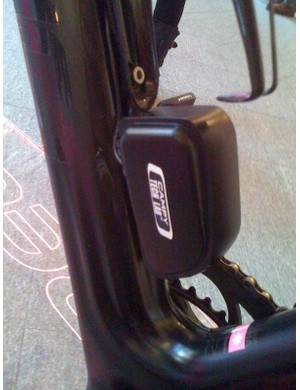 The battery for Campagnolo's electric group is located on the downtube.