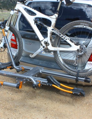Bikes are quick to load and are held securely in place, though the sloppy main pivot still allows the whole upper assembly a troubling amount of movement when driving down the road
