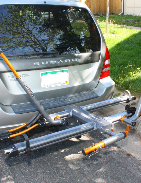 In stock form the Küat NV will hold two bikes of virtually any size or type.  Add-on kits are available if your hitch size allows, too