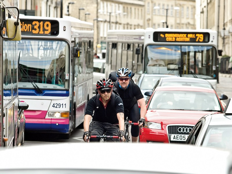 Try to avoid main roads wherever possible, especially where there's often backed-up traffic
