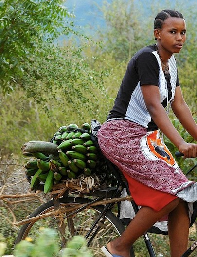 A bicycle can help carry far more than would be possible on foot