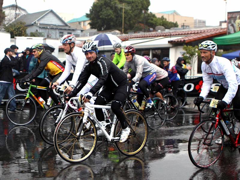 Famed Italian cyclist Paolo Bettini led the ride out of San Diego