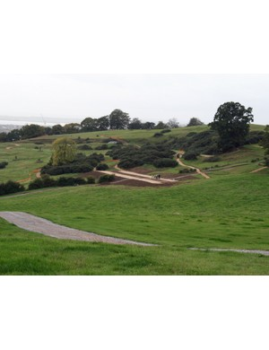 The course is beginning to take shape. The large tree on the right is the site of the 'oak tree drop' and the tunnel is visible just below it