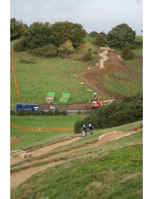 The rock garden descent is still being built by Martin Seddon's four-man team