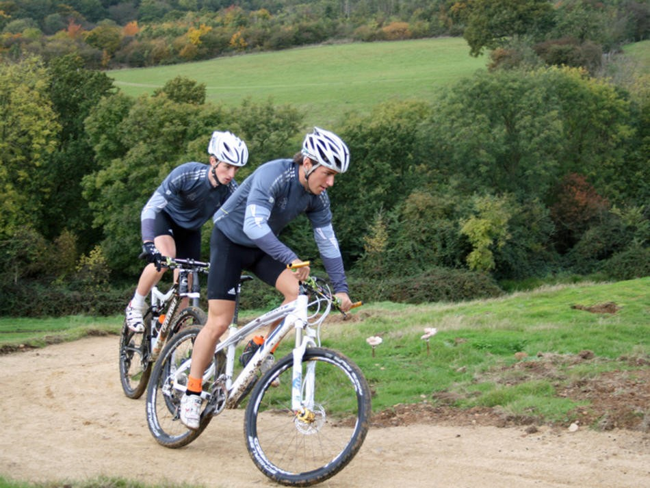 Billy-Joe Whenman (Whyte) and Paul Beales (Cannondale) tackle the zig-zag climb at the Olympic mountain bike course under construction in Essex